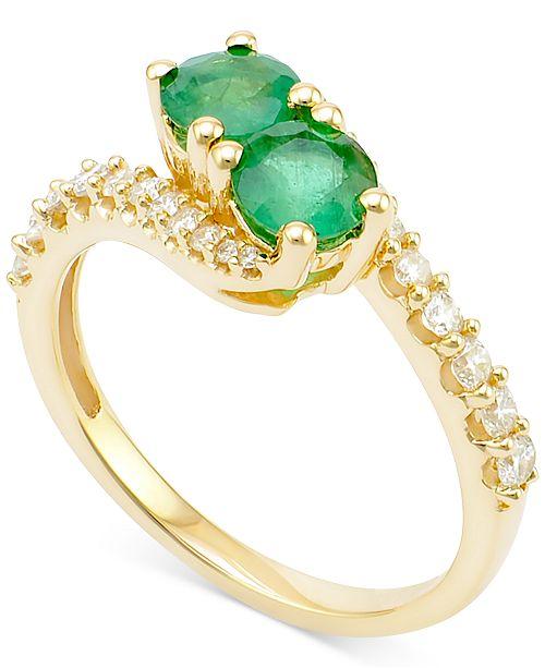 Macy's Emerald (3/4 ct. t.w.) and Diamond (3/8 ct. t.w.) Twist Ring in 14k Gold