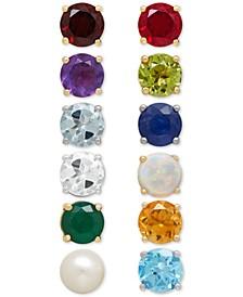 Genuine Birthstone Earrings in 14k Gold