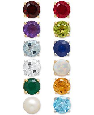 Macy S Genuine Birthstone Earrings In 14k Gold Earrings Jewelry