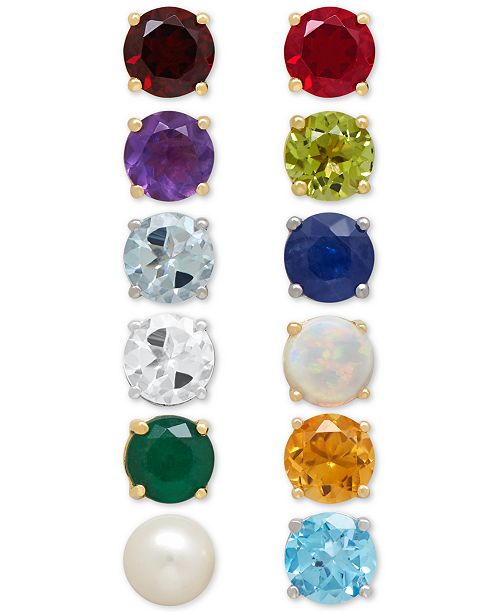 A Colorful Calendar Of Genuine Stone Stud Earrings Are Yours To Choose From In This Gorgeous Birthstone Collection Designed 14k Gold