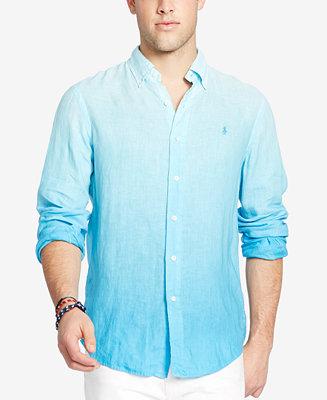 Polo ralph lauren men 39 s long sleeve ombr linen sport for Polo ralph lauren casual button down shirts