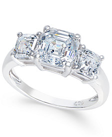 Arabella Swarovski Zirconia Three-Stone Ring in 14k White Gold