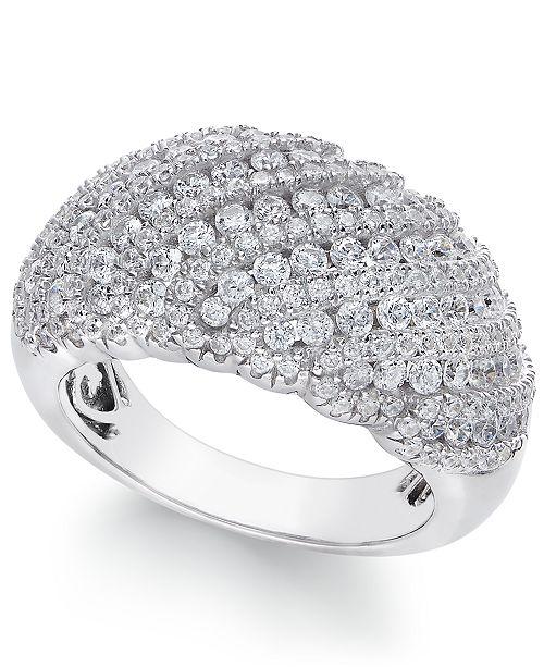 Arabella Swarovski Zirconia Dome Cluster Statement Ring in Sterling Silver