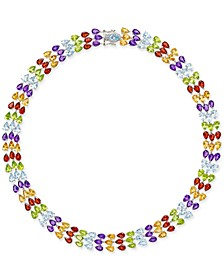 Multi-Gemstone Three Row Collar Necklace (90 ct. t.w.) in Sterling Silver