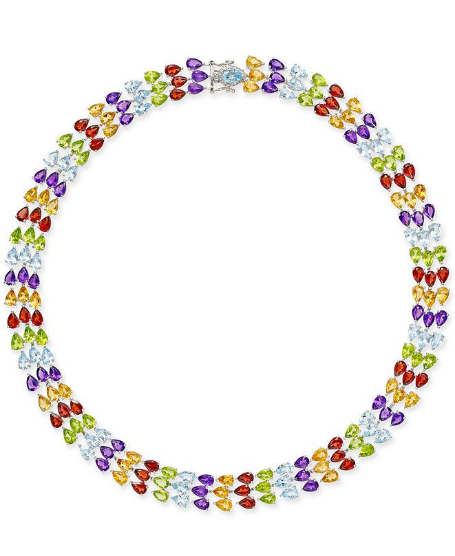 Macy's Multi-Gemstone Three Row Collar Necklace (90 ct. t.w.) in Sterling Silver