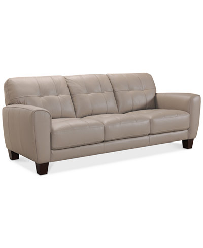 Kaleb 84 Quot Tufted Leather Sofa Created For Macy S Furniture Macy S