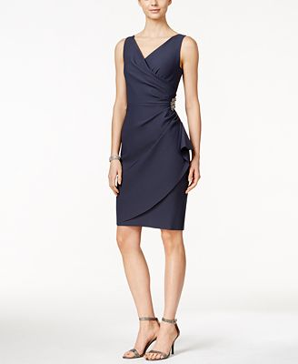 Alex Evenings Compression Embellished Ruched Sheath Dress ...