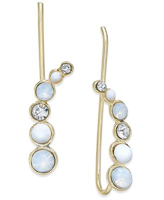 INC International Concepts Gold-Tone White Bead and Crystal Ear Climbers, Only at Macy's