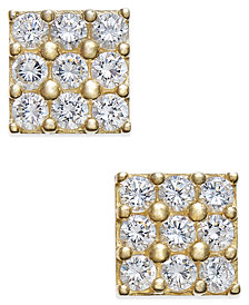 Cubic Zirconia Square Cluster Stud Earrings