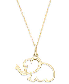 Cubic Zirconia Elephant Pendant Necklace in 10k Gold