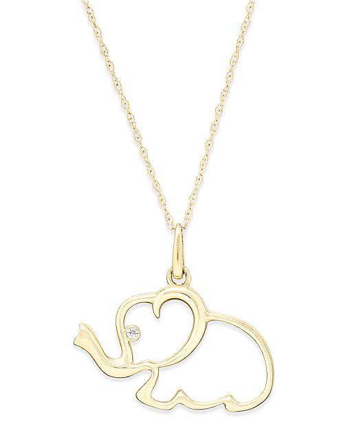 Macy's Cubic Zirconia Elephant Pendant Necklace in 10k Gold