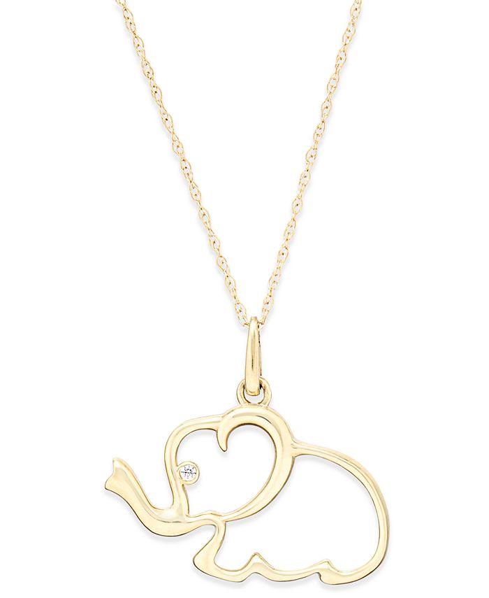 Macy's - Cubic Zirconia Elephant Pendant Necklace in 10k Gold