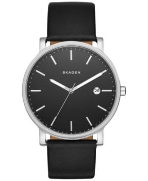 Skagen Men's Hagen Black Leather Strap Watch 40mm SKW6294