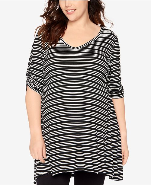 bc6c0e5bf Motherhood Maternity Plus Size Striped Fit   Flare Top - Maternity ...