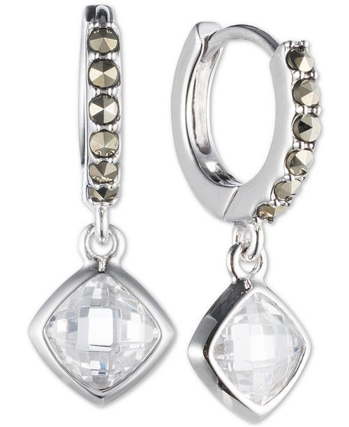 de92321d0 Judith Jack Sterling Silver Marcasite Hoop Crystal Drop Earrings ...