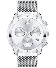 Movado Men's Swiss Chronograph Bold Stainless Steel Mesh Bracelet Watch 44mm 3600371