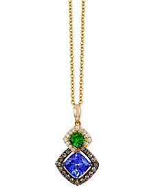 Chocolatier® Neo Geo™ Multi-Gemstone (1-1/5 ct. t.w.) and Diamond (1/4 ct. t.w.) Pendant Necklace in 14k Gold, Created for Macy's