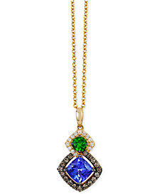 Le Vian Chocolatier® Neo Geo™ Multi-Gemstone (1-1/5 ct. t.w.) and Diamond (1/4 ct. t.w.) Pendant Necklace in 14k Gold, Created for Macy's