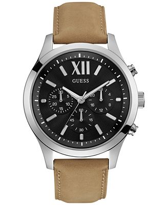 GUESS Men's Chronograph Tan Leather Strap Watch 46mm U0789G1