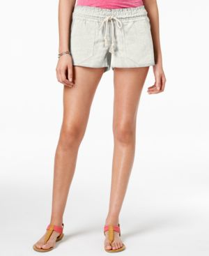 'Oceanside' Linen Blend Shorts in Beige