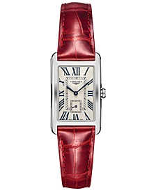 Women's Swiss Longines DolceVita Red Leather Strap Watch 23x37mm L55124715