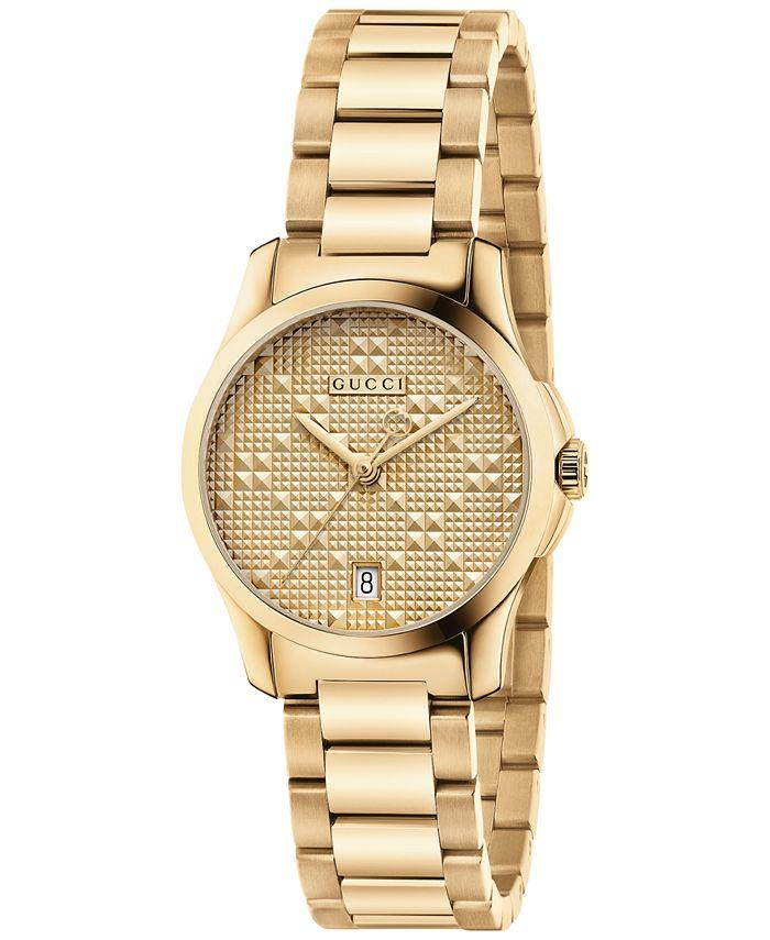 Gucci - Women's Swiss G-Timeless Gold-Tone PVD Stainless Steel Bracelet Watch 27mm YA126553