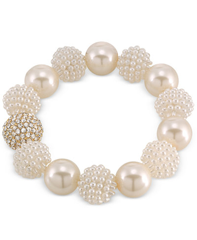Carolee Gold-Tone Imitation Pearl and Fireball Stretch Bracelet