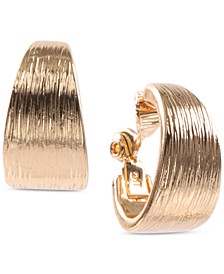 Gold-Tone Textured E-Z Comfort Clip-On Hoop Earrings