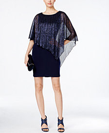 Connected Sheer Capelet Sheath Dress