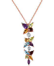 Multi-Gemstone (2-9/10 ct. t.w.) and Diamond Accent Lariat Necklace in 14k Rose Gold