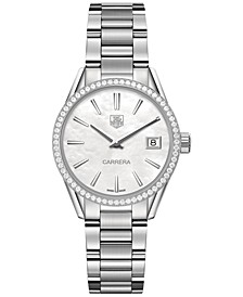 Women's Swiss Carrera Diamond (5/8 ct. t.w.) Stainless Steel Bracelet Watch 32mm