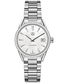 Women's Swiss Carrera Diamond (5/8 ct. t.w.) Stainless Steel Bracelet Watch 32mm