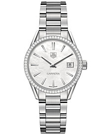 TAG Heuer Women's Swiss Carrera Diamond (5/8 ct. t.w.) Stainless Steel Bracelet Watch 32mm