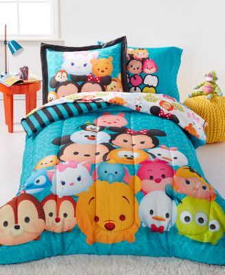 Tsum Tsum Teal Stacks Twin 5 Piece Comforter Set