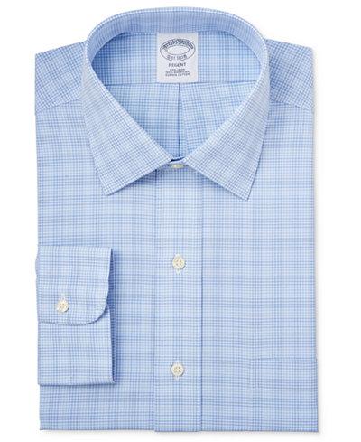 Brooks Brothers Regent Men's Classic-Fit Non-Iron Light Blue Plaid Dress Shirt