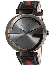 Gucci Watch, Unisex Swiss Interlocking Green and Red Striped Black Leather Strap 42mm YA133206