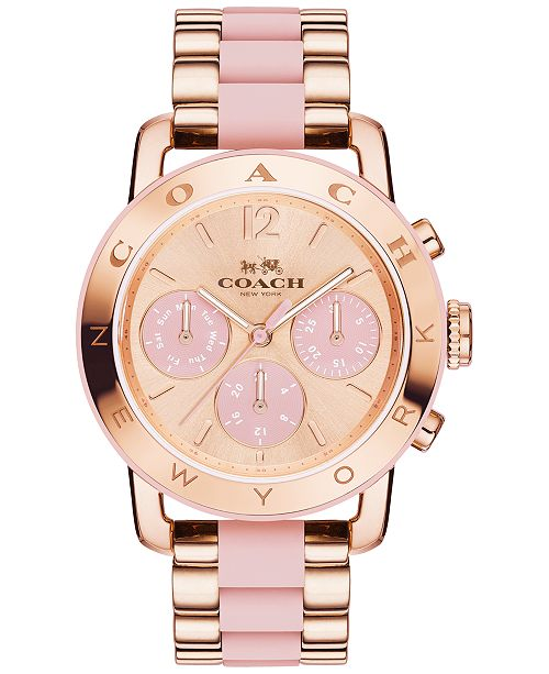 ... COACH Women s Chronograph Legacy Sport Rose Gold-Tone Stainless Steel  and Blush Silicone Bracelet Watch ... 78129c1f1
