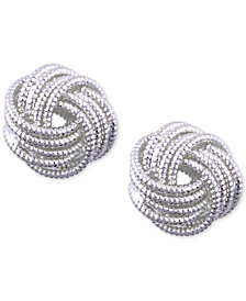 Nine West Silver-Tone Love Knot Stud Earrings