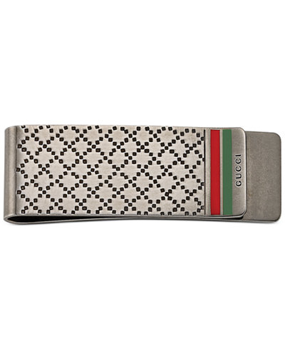 Gucci Men's Sterling Silver Diamond Pattern with Green and Red Enamel Money Clip YBF32594800100U