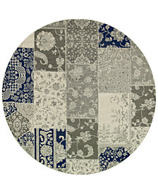 "Oriental Weavers Richmond Patchwork Ivory/Grey 7'10"" Round Rug"