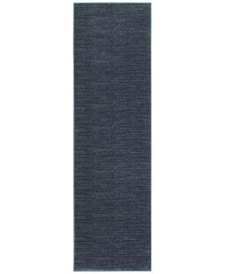 "Tidewater Casual Navy/Grey 2'3"" x 7'6"" Runner Rug"
