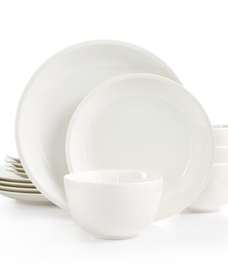 martha stewart collection 12pc mercer coupe dinnerware set created for macyu0027s - White Dinnerware Sets