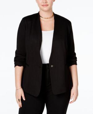 RACHEL RACHEL ROY Trendy Plus Size Ponte Blazer in Black