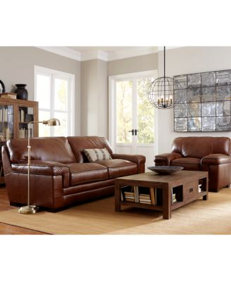 Myars Leather Sofa Collection. leather living room furniture   Macy s