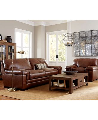 "Modern Living Room Furniture Leather furniture myars 91"" leather sofa - furniture - macy's"