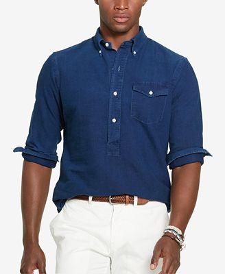 Polo ralph lauren men 39 s indigo oxford popover casual for Polo ralph lauren casual button down shirts