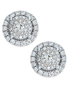 Diamond Round Cluster Stud Earrings (3/4 ct. t.w.) in 14k White Gold