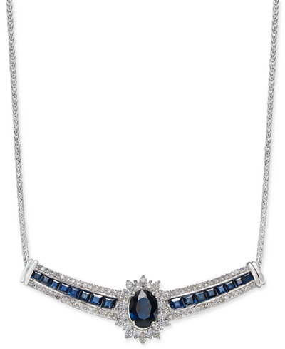 Sapphire (3-1/10 ct. t.w.) and Diamond (3/4 ct. t.w.) Necklace in 14k White Gold