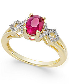 Ruby (9/10 ct. t.w.) and Diamond (1/8 ct. t.w.) Ring in 14k Gold(Also Available in Emerald & Sapphire)