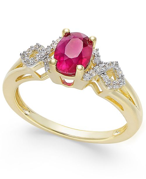 Macy's Certified Ruby (9/10 ct. t.w.) and Diamond (1/8 ct. t.w.) Ring in 14k Gold(Also Available in Emerald & Sapphire)